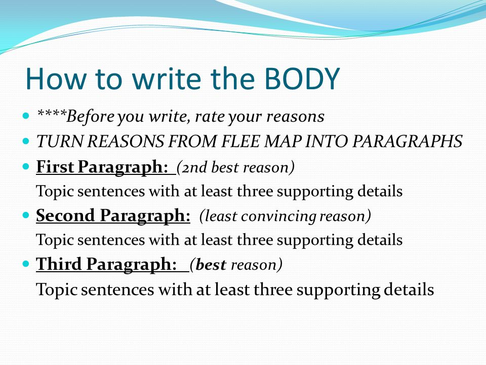 How to write the BODY ****Before you write, rate your reasons