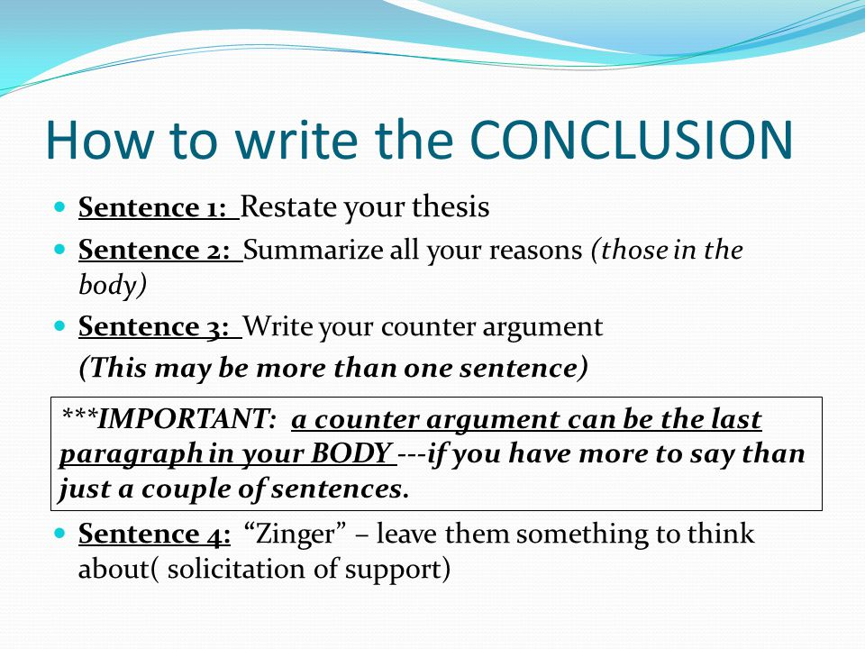 does a thesis have to be one sentence A thesis statement is a sentence (sometimes more than one sentence) that  reveals  to delay your thesis statement until later if you need to first build your  reasoning in  your thesis should be developed from research, not just an idea  so you.