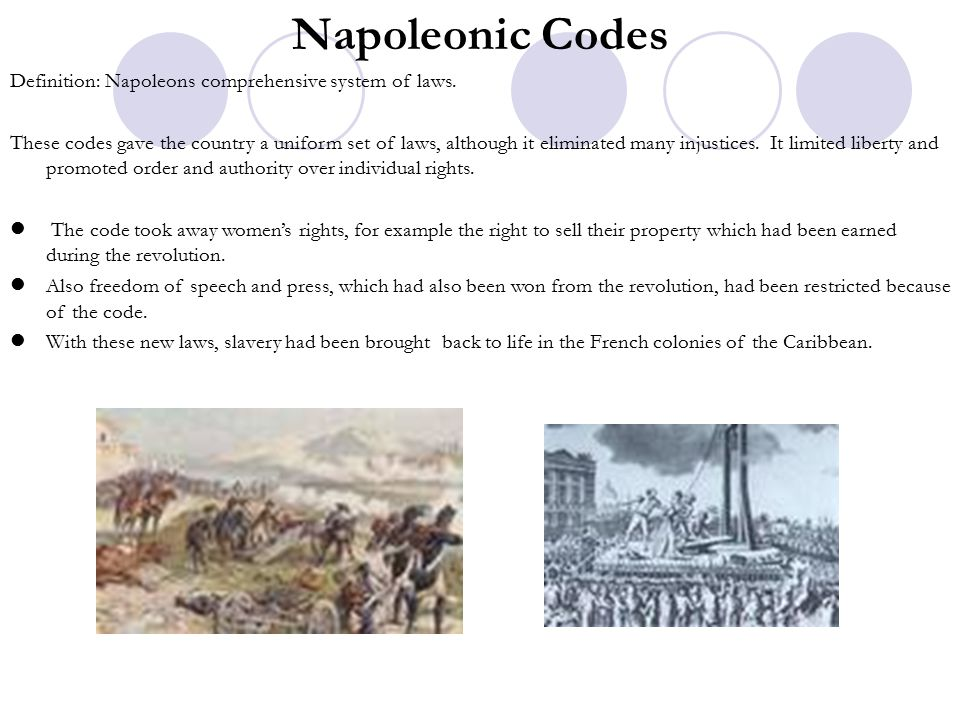 code napoleon and declaration of the rights The napoleonic code is the french civil code established under napoléon i in  1804  the french revolution's declaration of the rights of man and of the  citizen declared that suspects were presumed to be innocent until they had been .