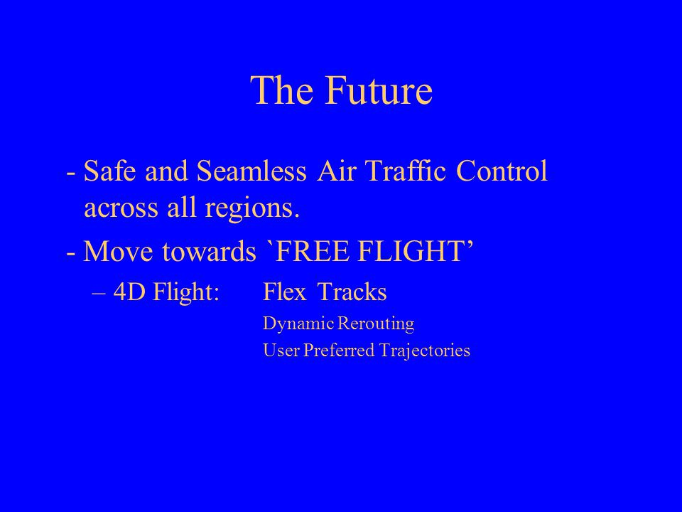 "free flight the future of air traffic control essay Raise the possibility of moving to a ""free-flight"" regime of future air traffic control can air safety: a first-order analysis."