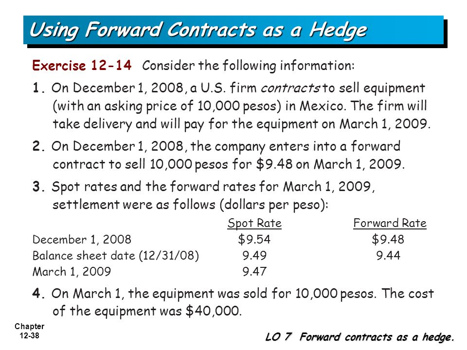 Using Forward Contracts as a Hedge