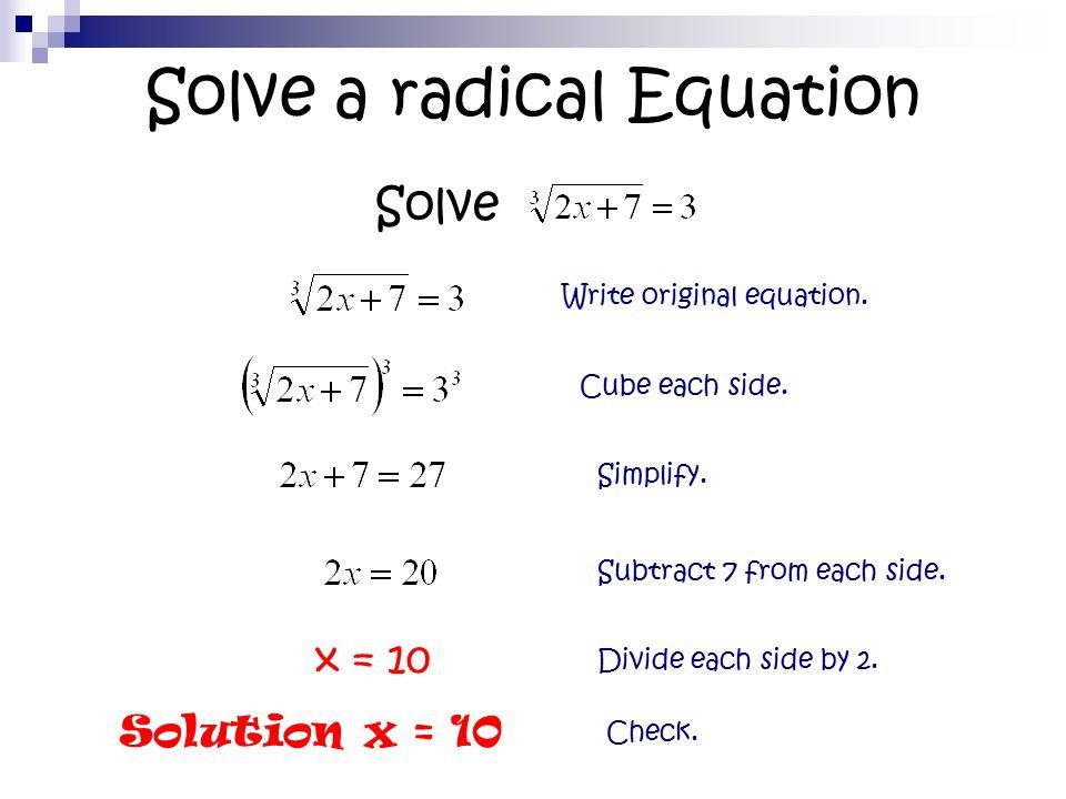solving radical equations and inequalities ppt tessshebaylo. Black Bedroom Furniture Sets. Home Design Ideas