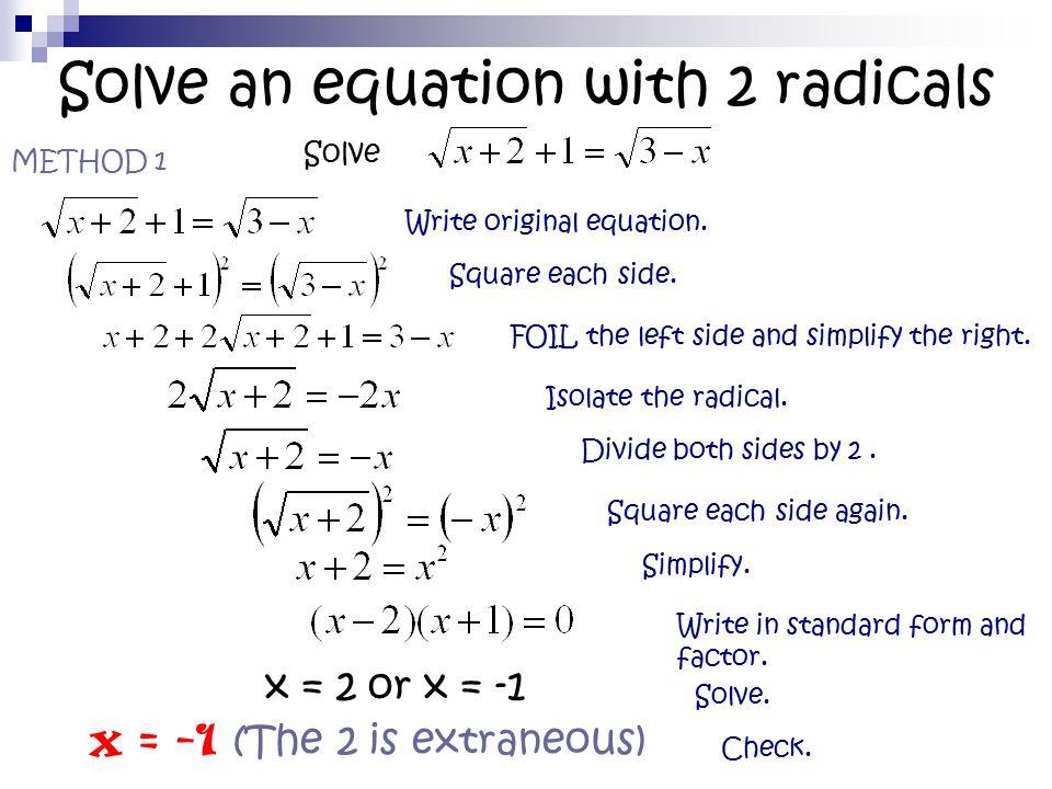 radical equations with two radicals on one side tessshebaylo. Black Bedroom Furniture Sets. Home Design Ideas