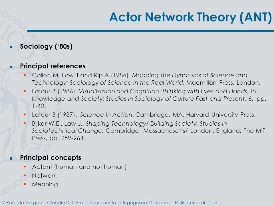 Actor Network Theory (ANT)