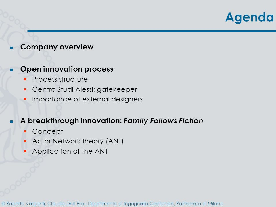 Agenda Company overview Open innovation process