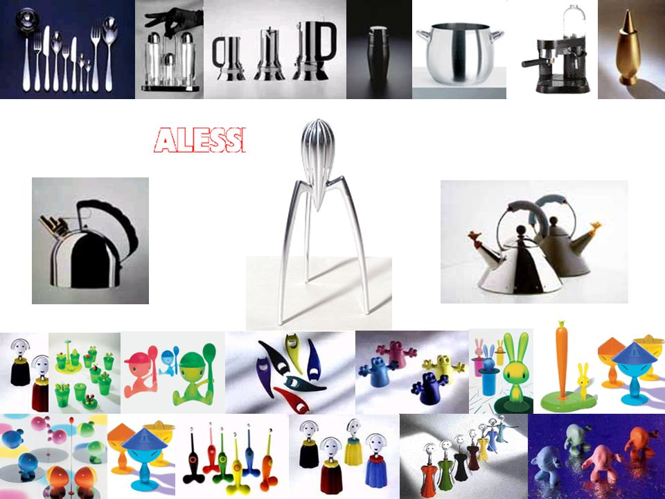 The corkscrew Anna G., the bottle opener Diabolix, the eggcup Cico and the famous lemon squeezer Juicy Salif designed by Philippe Starck for Alessi.