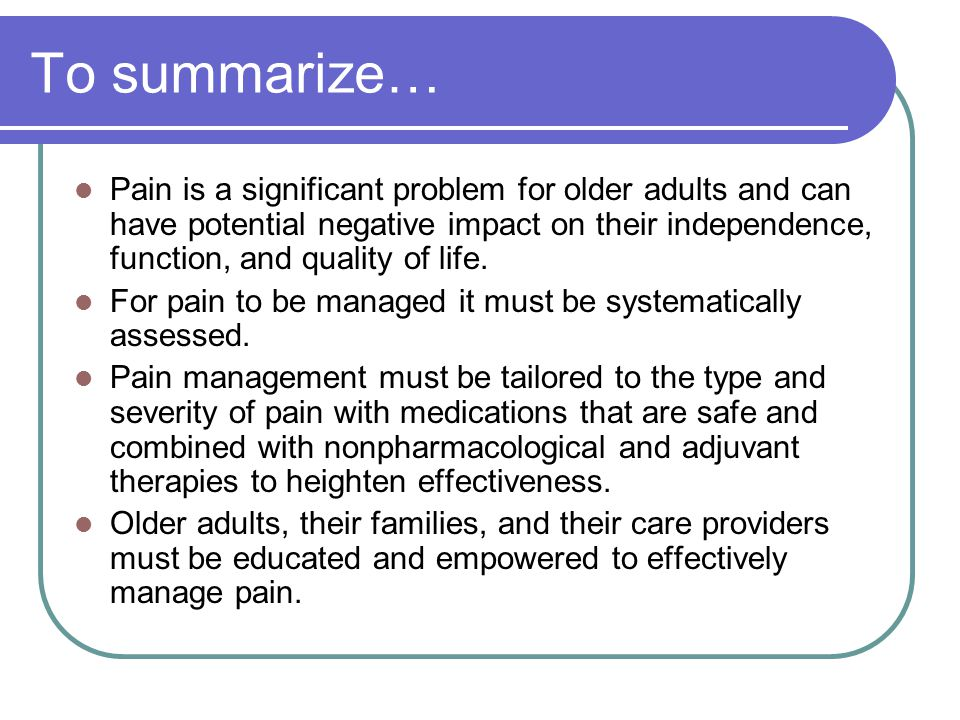 acute pain management in older adults
