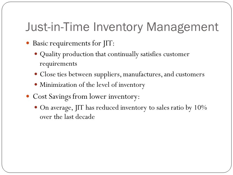 just in time inventory management essay Just in time (jit) is the production process rooted on the basis of the system  working just when and as it is  essay on just in time inventory system (jit.