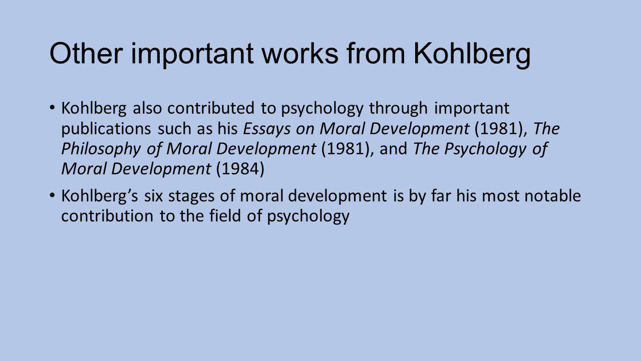 Essays on moral development kohlberg