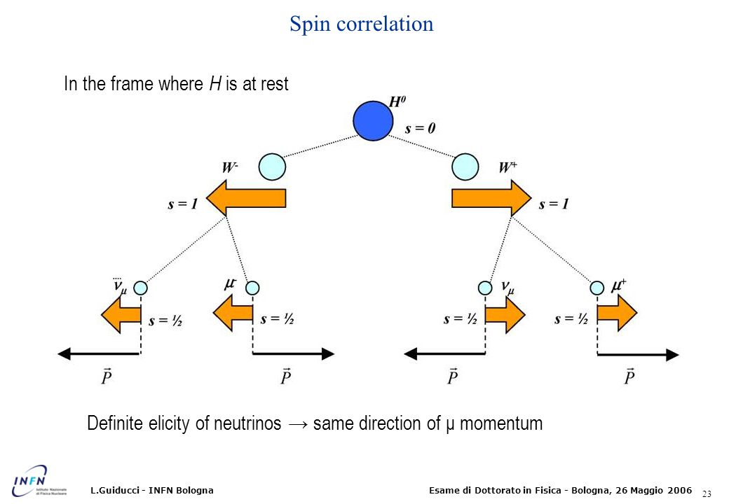 Spin correlation In the frame where H is at rest