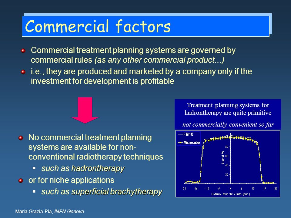 Commercial factors Commercial treatment planning systems are governed by commercial rules (as any other commercial product...)