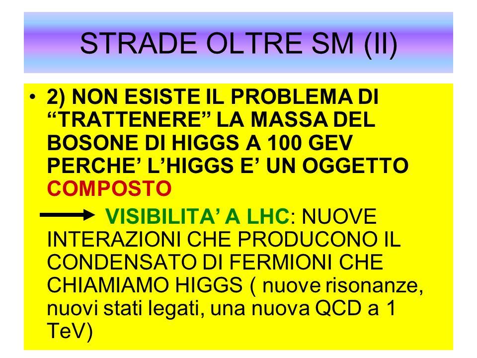 STRADE OLTRE SM (II)2) NON ESISTE IL PROBLEMA DI TRATTENERE LA MASSA DEL BOSONE DI HIGGS A 100 GEV PERCHE' L'HIGGS E' UN OGGETTO COMPOSTO.