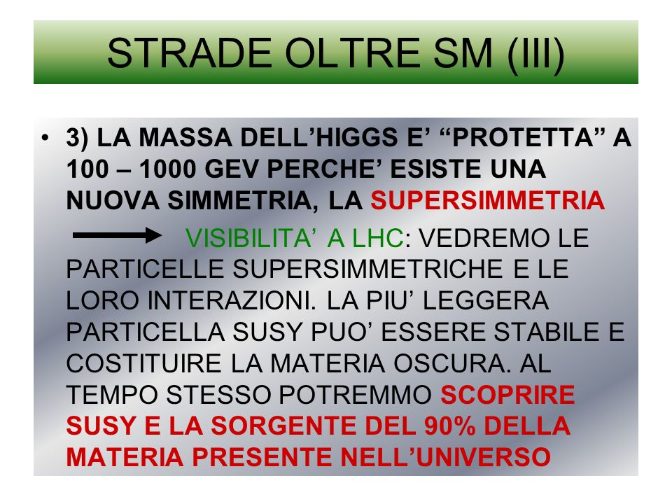 STRADE OLTRE SM (III) 3) LA MASSA DELL'HIGGS E' PROTETTA A 100 – 1000 GEV PERCHE' ESISTE UNA NUOVA SIMMETRIA, LA SUPERSIMMETRIA.