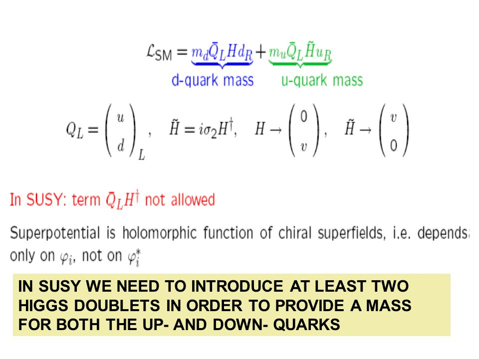 IN SUSY WE NEED TO INTRODUCE AT LEAST TWO HIGGS DOUBLETS IN ORDER TO PROVIDE A MASS FOR BOTH THE UP- AND DOWN- QUARKS