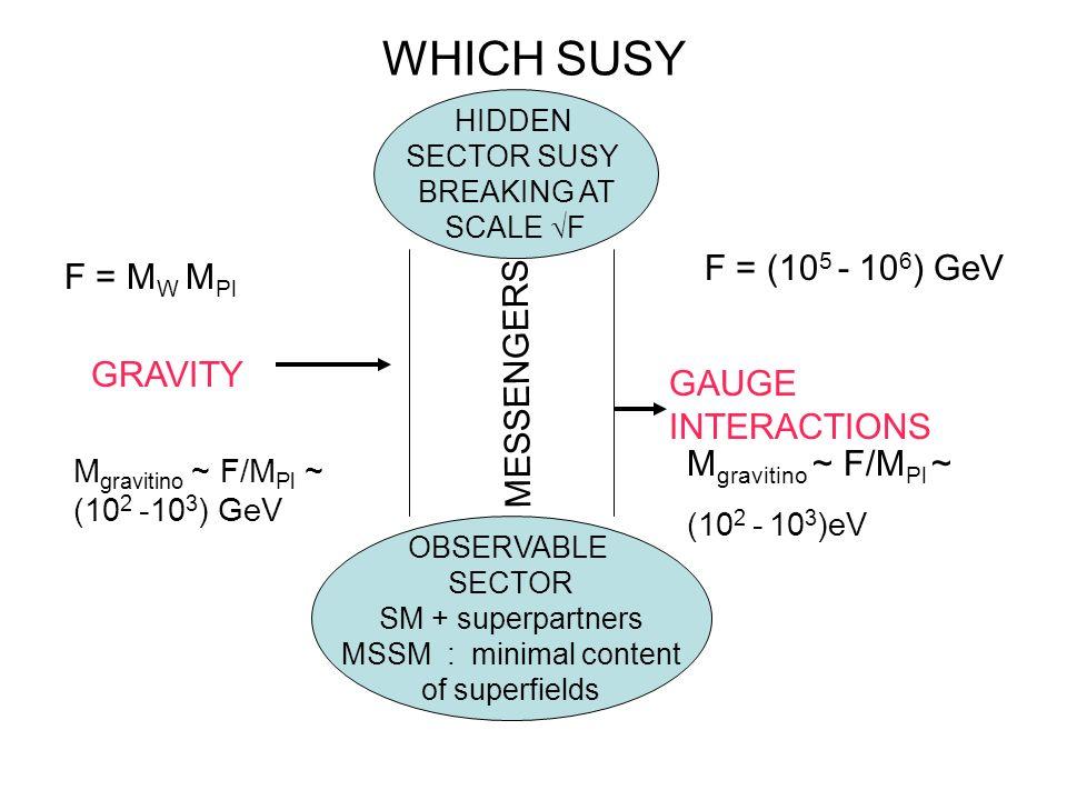 WHICH SUSY F = (105 - 106) GeV F = MW MPl MESSENGERS GRAVITY