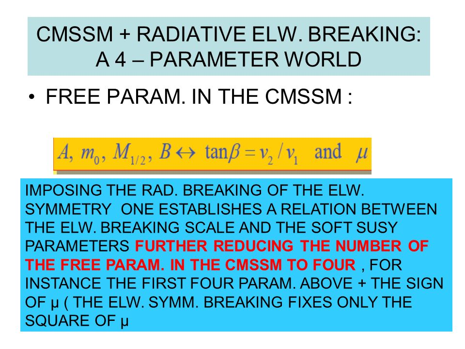 CMSSM + RADIATIVE ELW. BREAKING: A 4 – PARAMETER WORLD