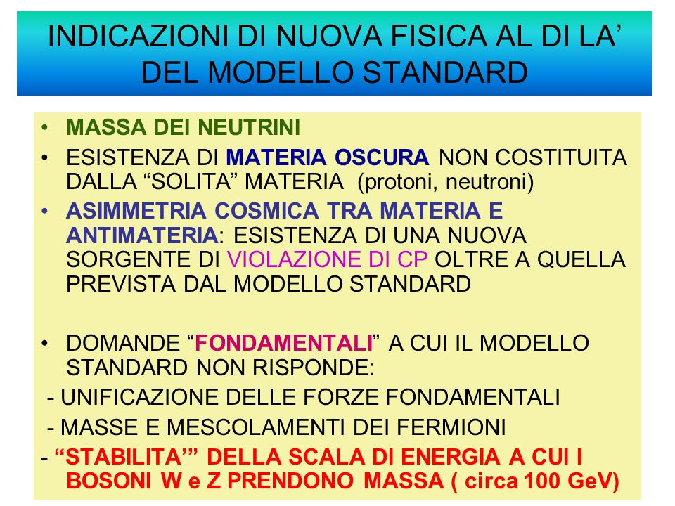 INDICAZIONI DI NUOVA FISICA AL DI LA' DEL MODELLO STANDARD