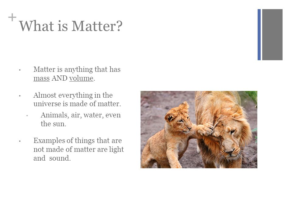 What is Matter Matter is anything that has mass AND volume.