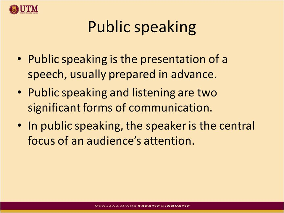 Public Speaking About the Malays