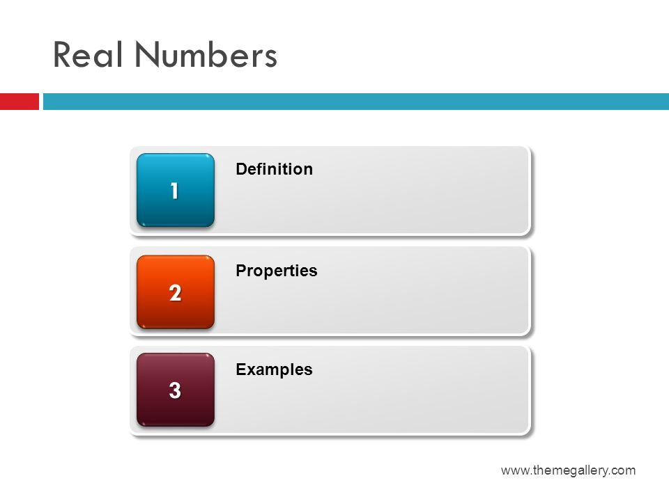 Real Numbers 1 Definition 2 Properties 3 Examples