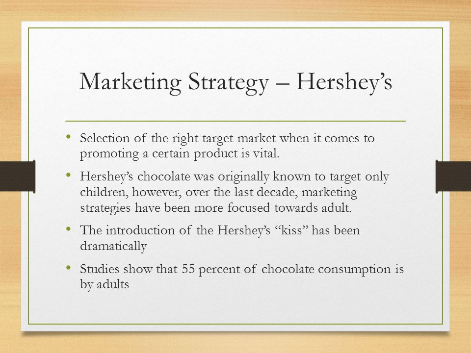 marketing strategies when dealing with choc Successful marketing communicates to a target audience that its needs can be met by a particular supplier's offering any marketing campaign should have at its core the communication of the target market's needs with this in mind, it is essential to consider what chinese businesses require from potential western suppliers.
