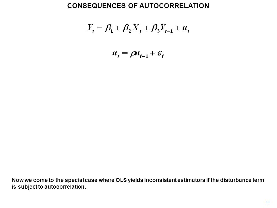 CONSEQUENCES OF AUTOCORRELATION