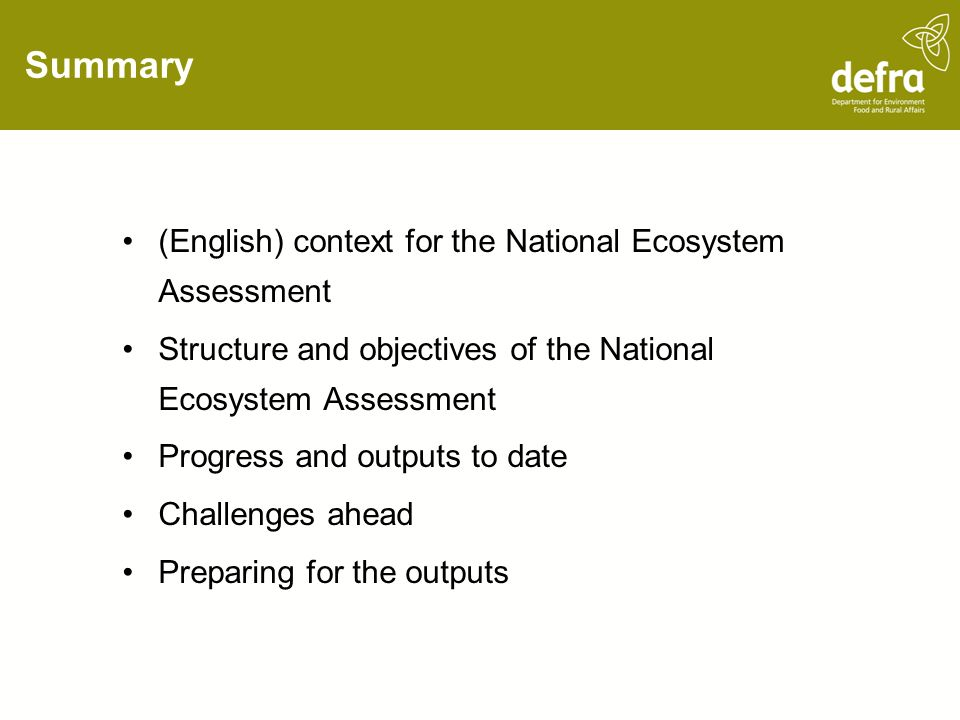 Summary (English) context for the National Ecosystem Assessment