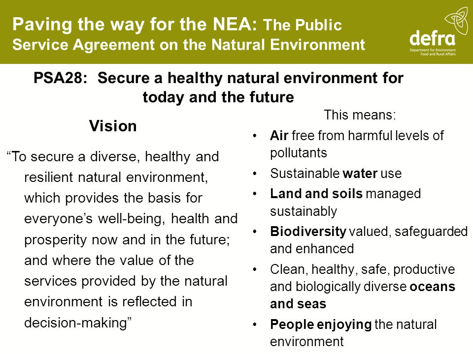 PSA28: Secure a healthy natural environment for today and the future
