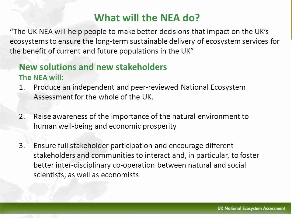What will the NEA do New solutions and new stakeholders