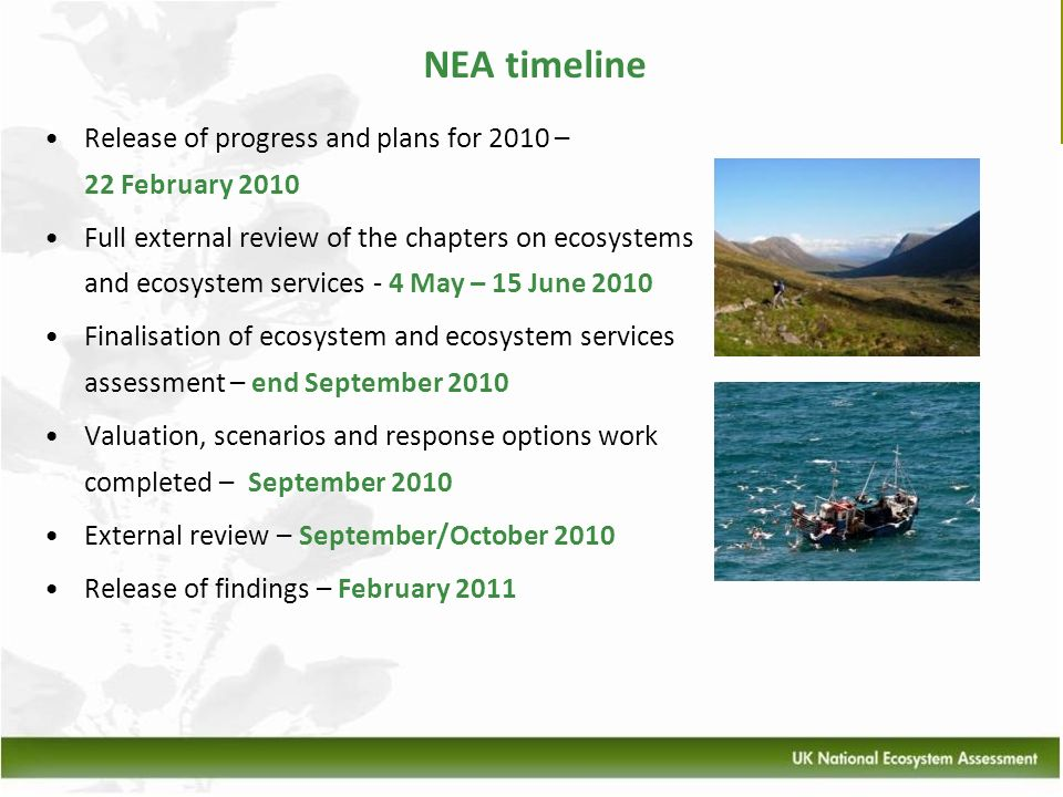 NEA timeline Release of progress and plans for 2010 – 22 February 2010