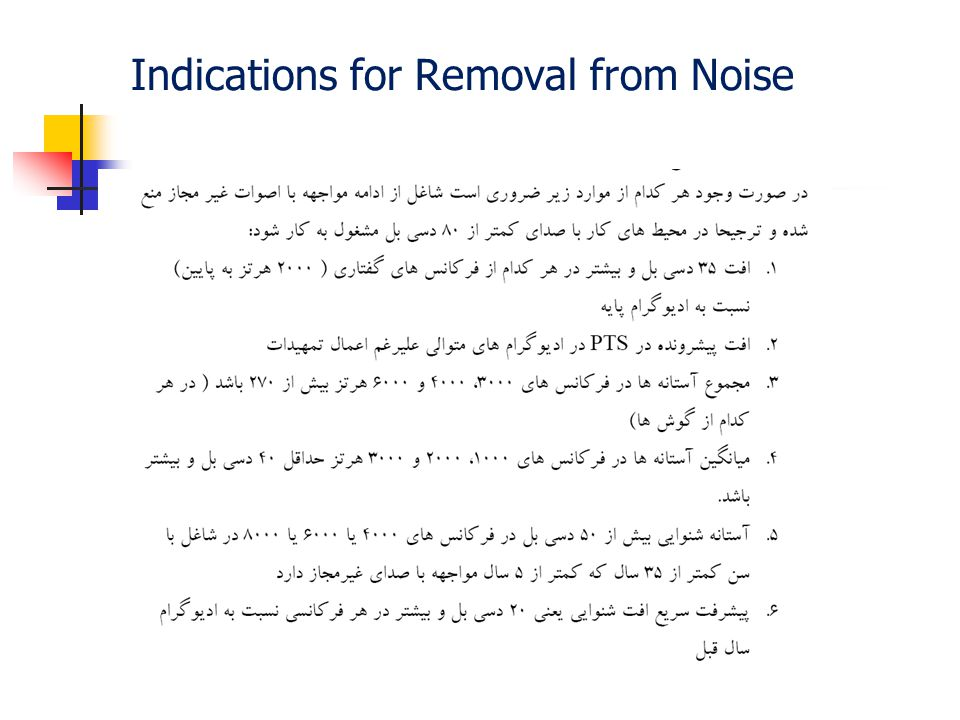 Indications for Removal from Noise