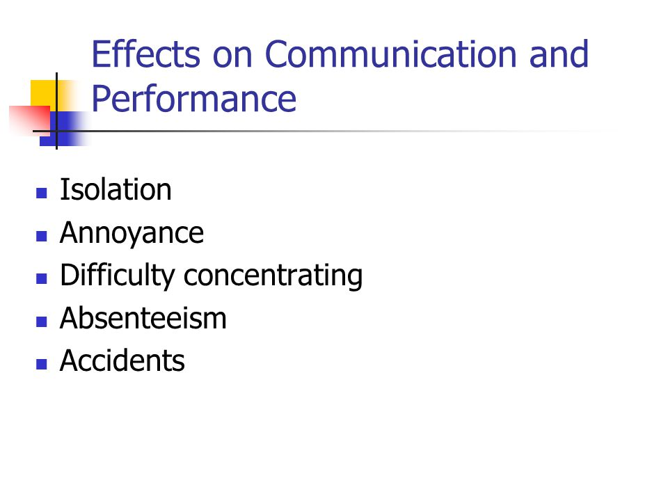 Effects on Communication and Performance