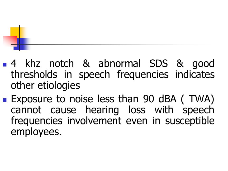 4 khz notch & abnormal SDS & good thresholds in speech frequencies indicates other etiologies
