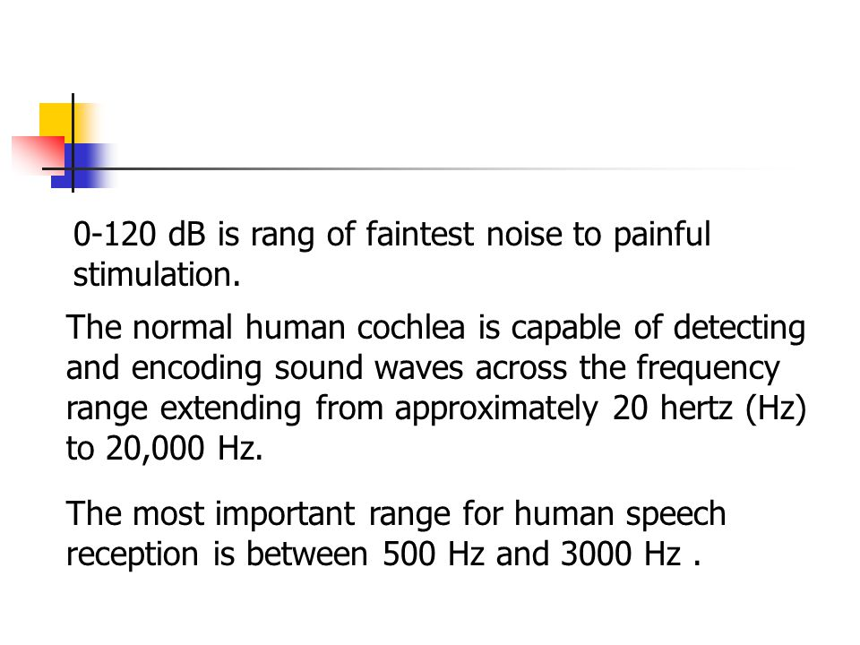 0-120 dB is rang of faintest noise to painful stimulation.
