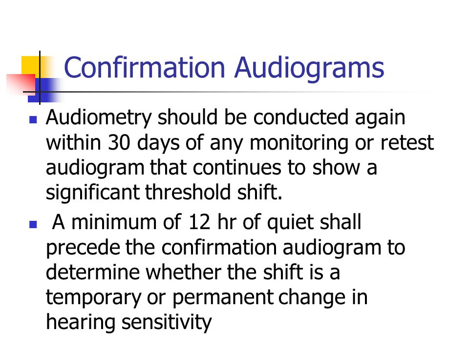 Confirmation Audiograms