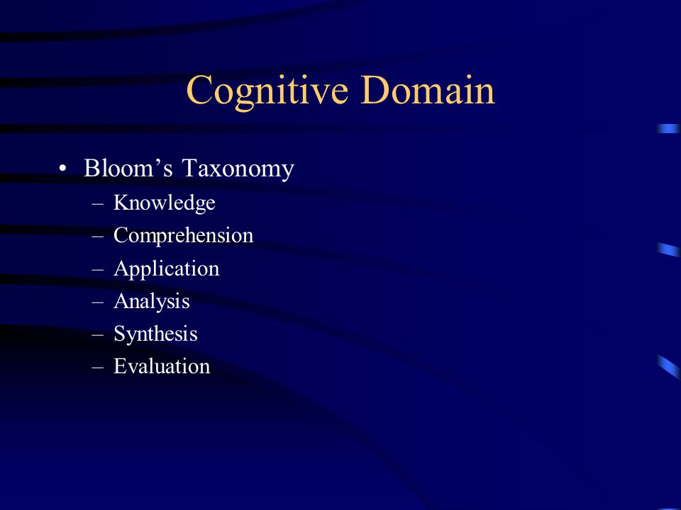 Cognitive Domain Bloom's Taxonomy Knowledge Comprehension Application