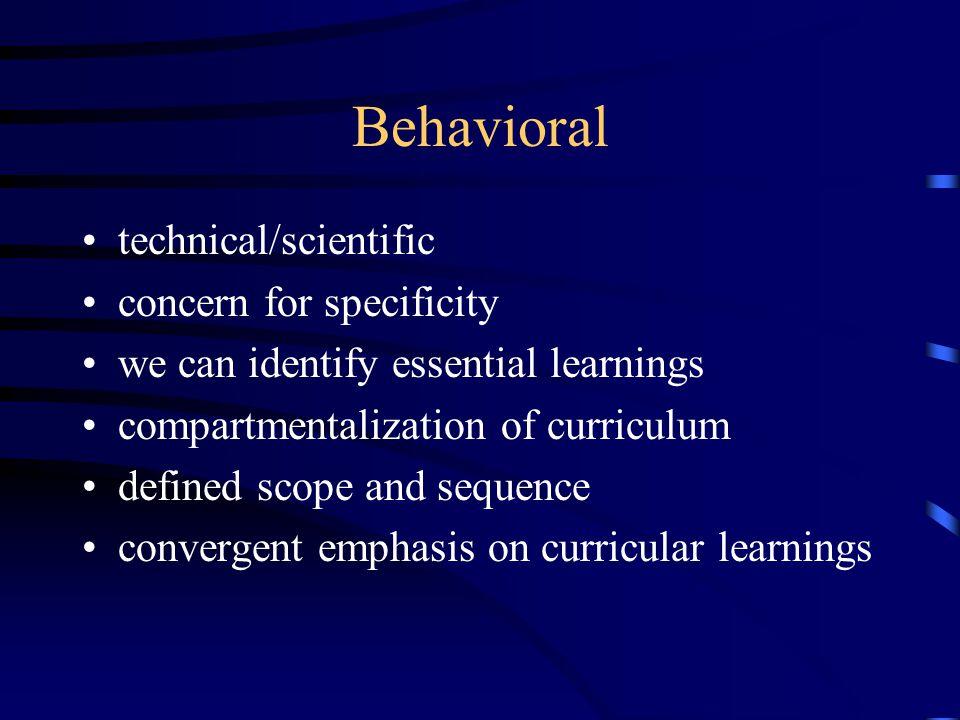 Behavioral technical/scientific concern for specificity