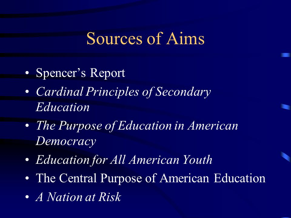 Sources of Aims Spencer's Report