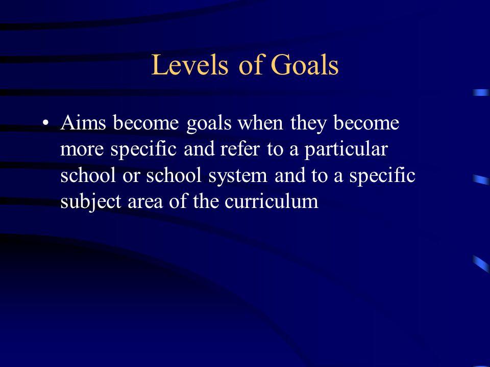 Levels of Goals
