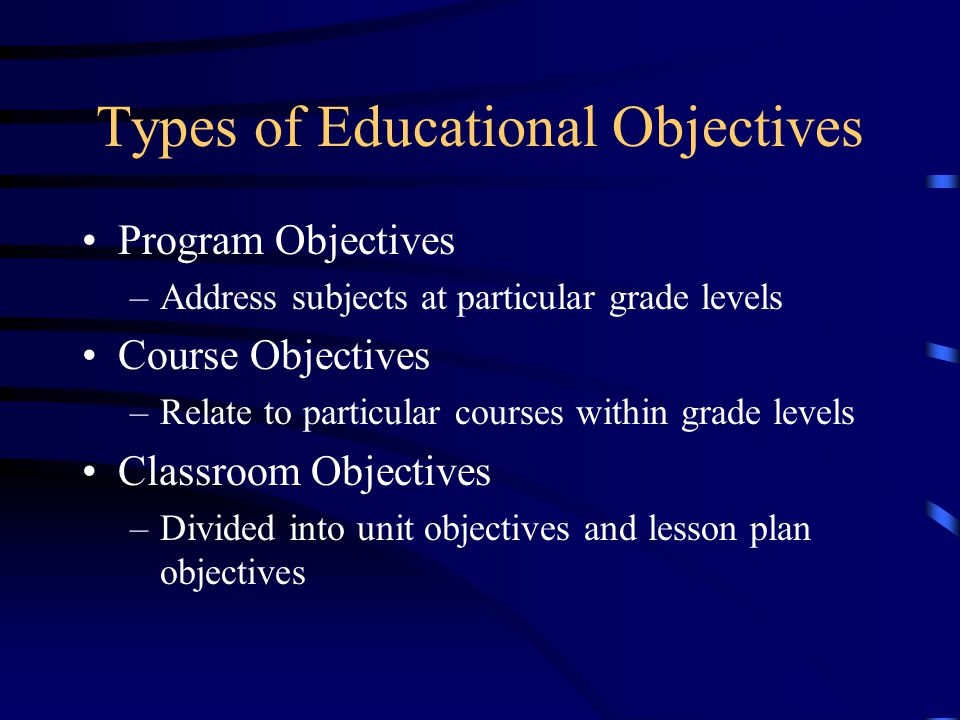 Types of Educational Objectives