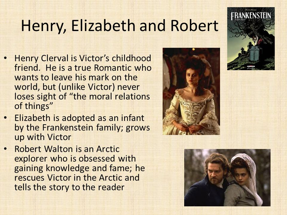 clerval and elizabeth essay Assignments for frankenstein expectations: in elizabeth's letter there is a discussion of --the enraged creature murders clerval and victor is accused of.