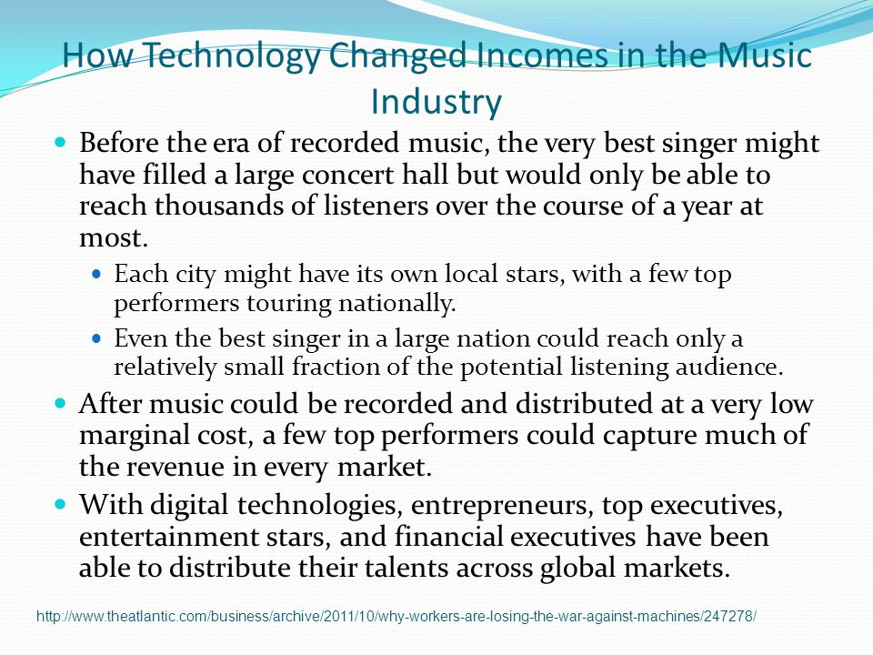 how technology changed the music industry An overview of the recorded music industry--throughout the past 10 years, the recorded music industry has changed drastically illegal.