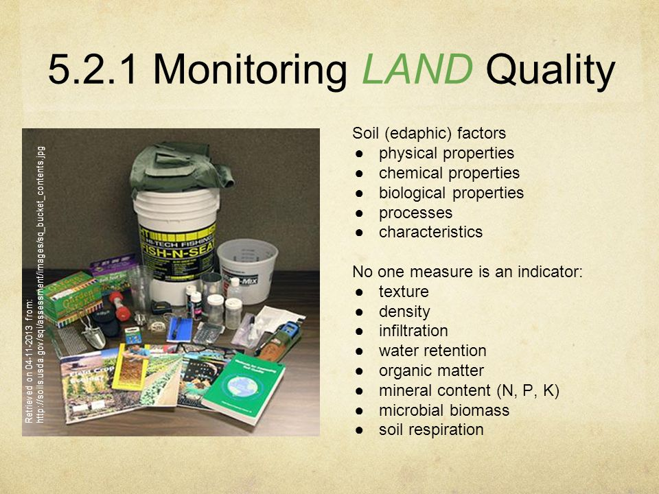 Sub subtopics describe two direct methods of monitoring for Soil quality definition