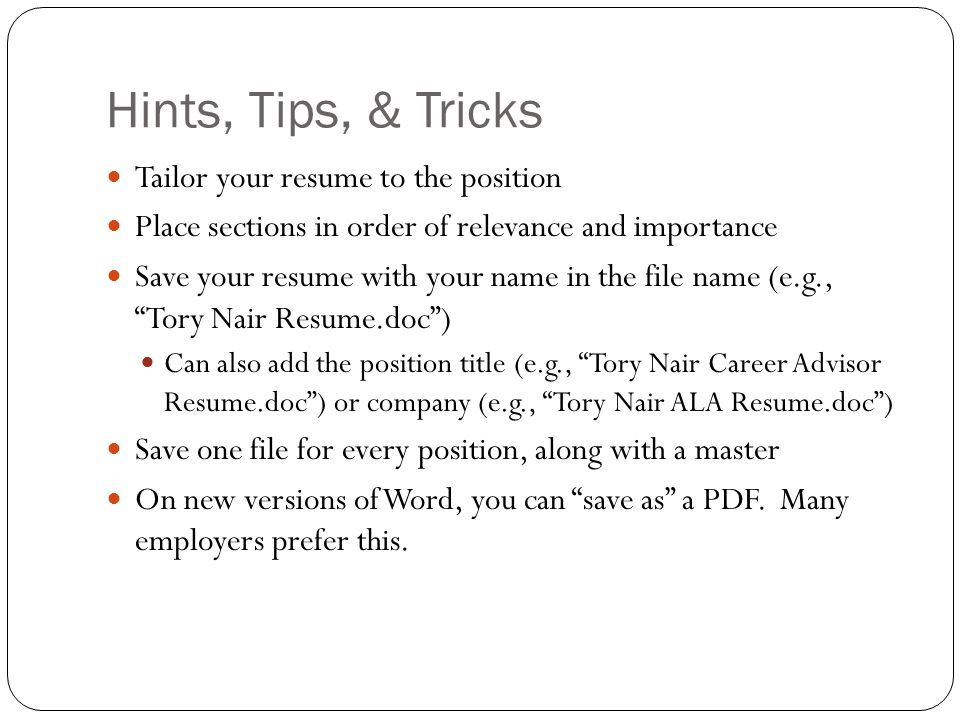 19 hints tips - Resume Hints And Tips