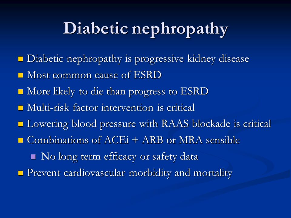 diabetic glomerulosclerosis of kidneys and nursing Renal lesions predict progression of diabetic nephropathy in type 1  (15)  standardized dinamap measurements performed by trained gcrc nursing staff.