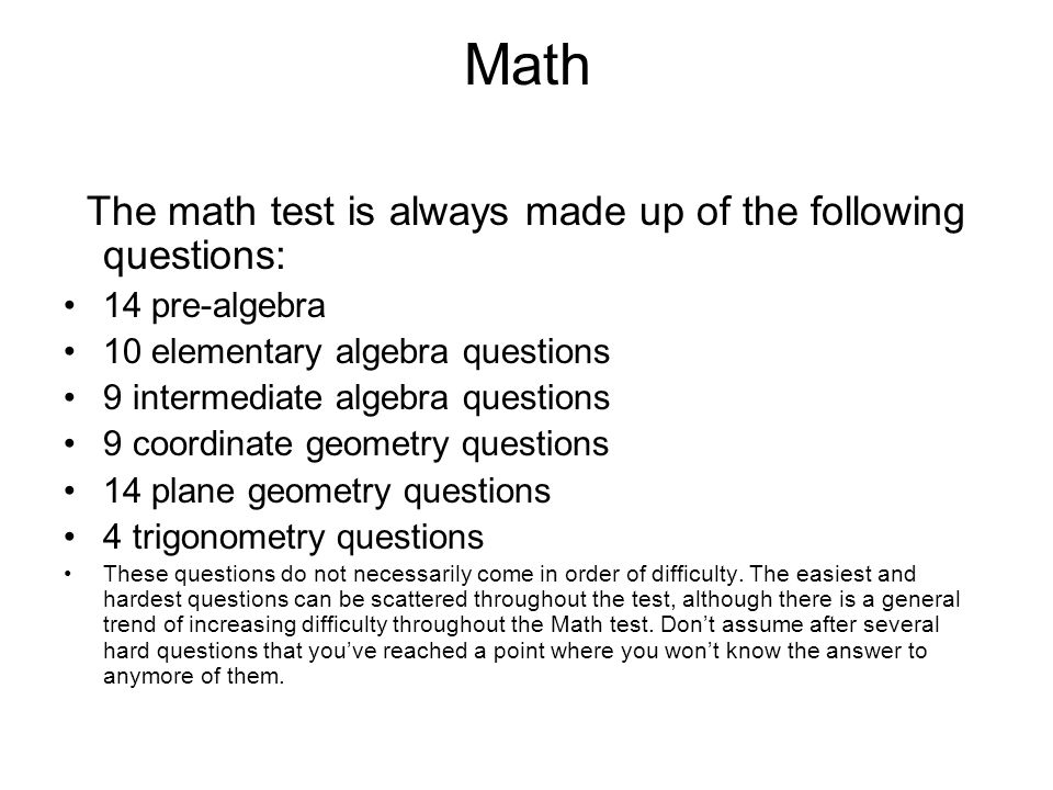 crash course for the act ppt  math the math test is always made up of the following questions