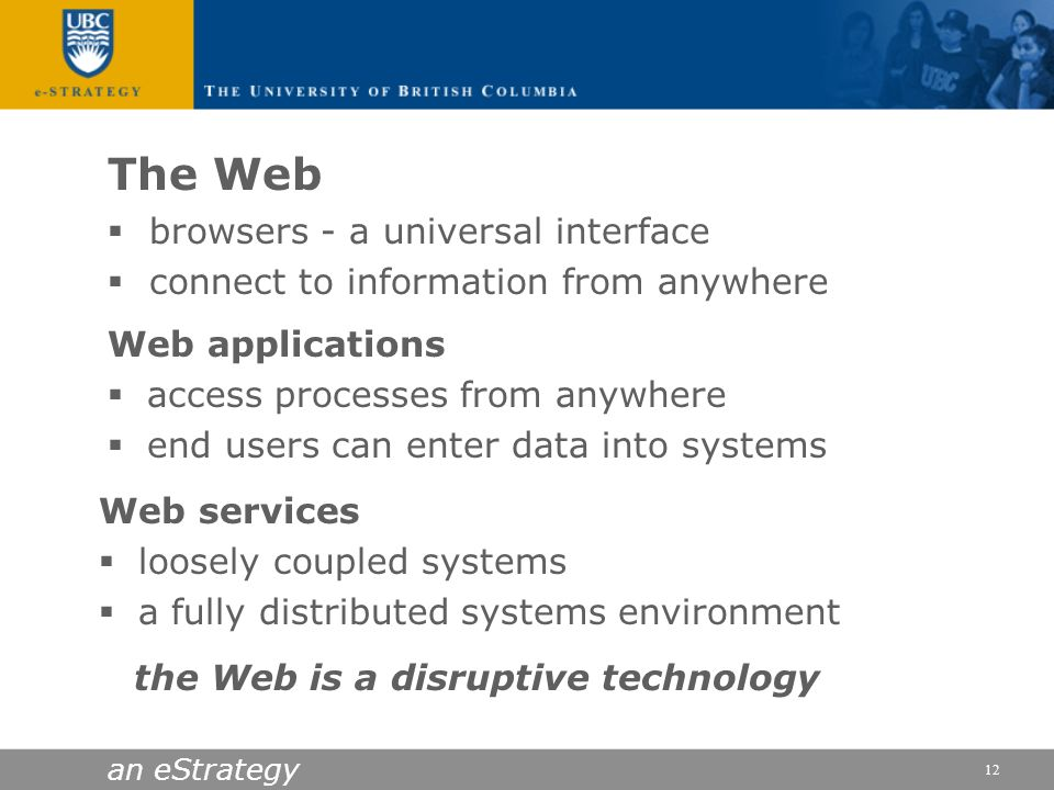 the Web is a disruptive technology