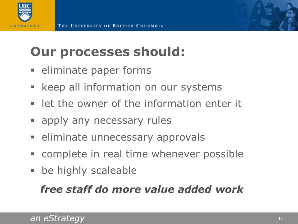Our processes should: eliminate paper forms