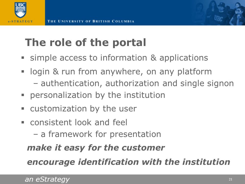 The role of the portal simple access to information & applications