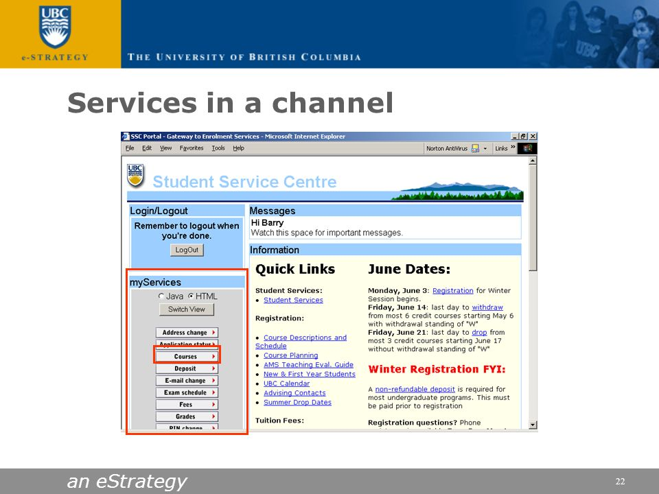 Services in a channel an eStrategy